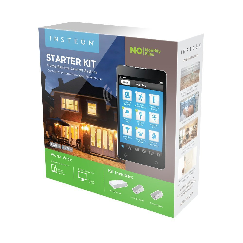 Insteon Connected Home Automation Starter Kit - - with HUB, Dimmers Modules (2), Leak Sensor, Motion sensor, Open/Close Sensor, Thermostat, IP Camera. Average rating: 1 out of 5 stars, based on 1 reviews 1 ratings $