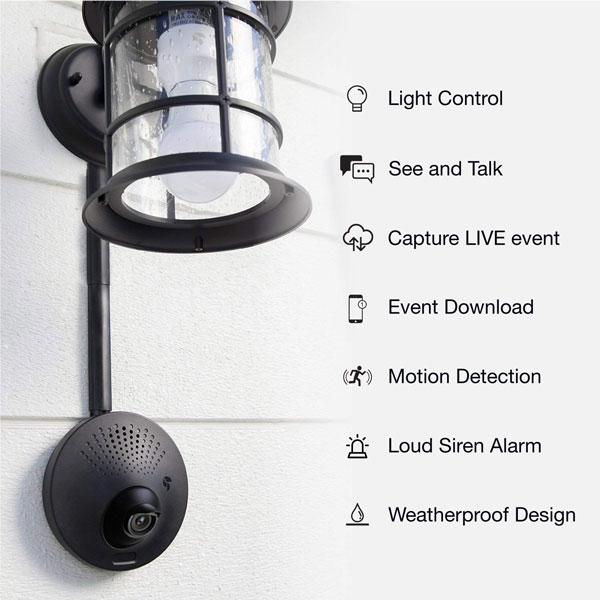 Camera Light Fixture: Toucan Light Fixture Powered Security Camera