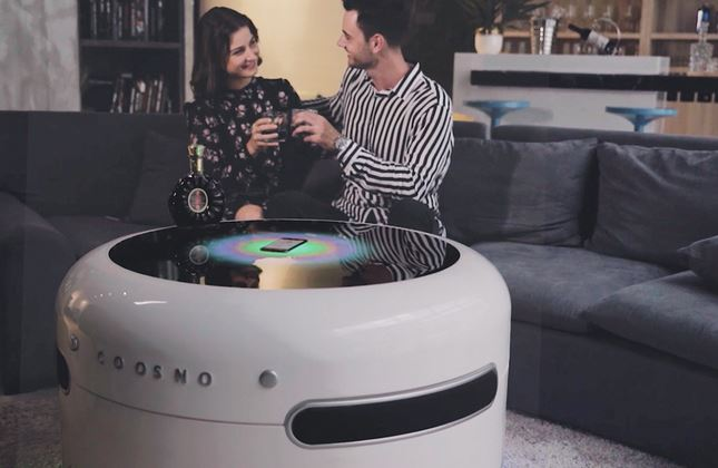 coosno smart coffee table with fridge, wireless charger
